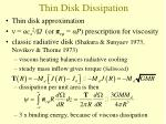 thin disk dissipation