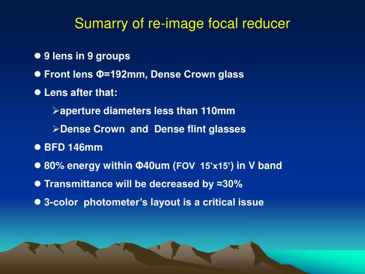 Sumarry of re-image focal reducer