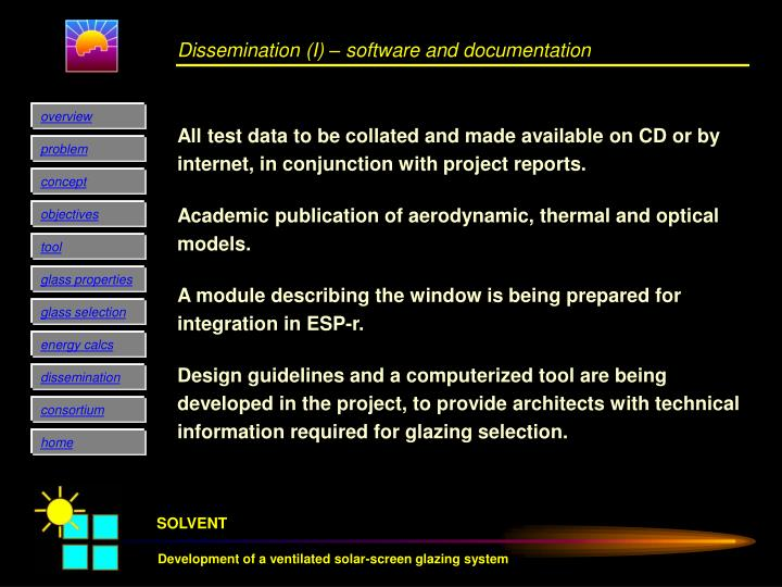 Dissemination (I) – software and documentation