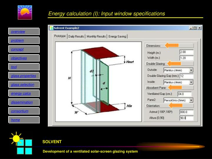Energy calculation (I): Input window specifications