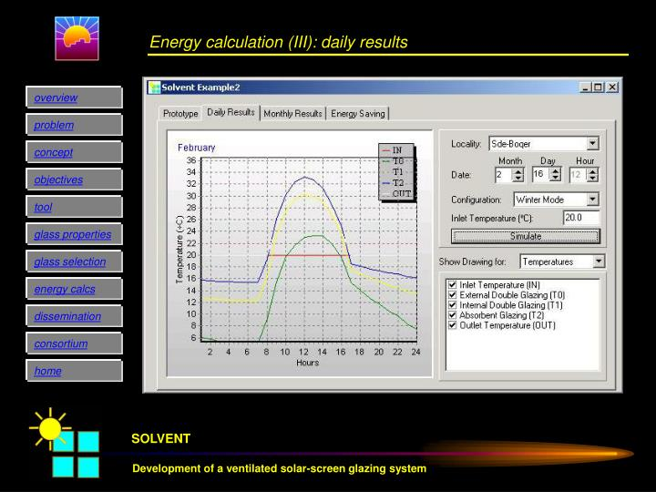 Energy calculation (III): daily results