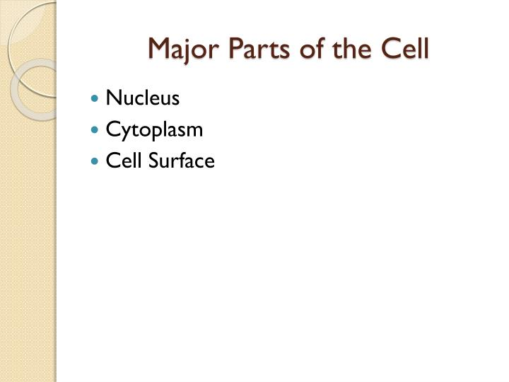 Major Parts of the Cell