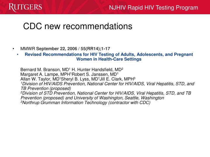 CDC new recommendations