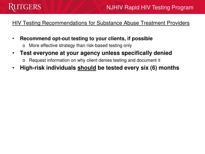 HIV Testing Recommendations for Substance Abuse Treatment Providers