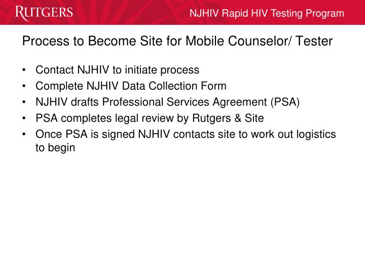 Process to Become Site for Mobile Counselor/ Tester