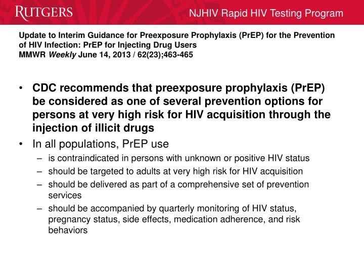 Update to Interim Guidance for Preexposure Prophylaxis (PrEP) for the Prevention of HIV Infection: PrEP for Injecting Drug Users