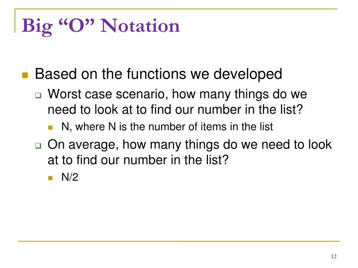 """Big """"O"""" Notation"""