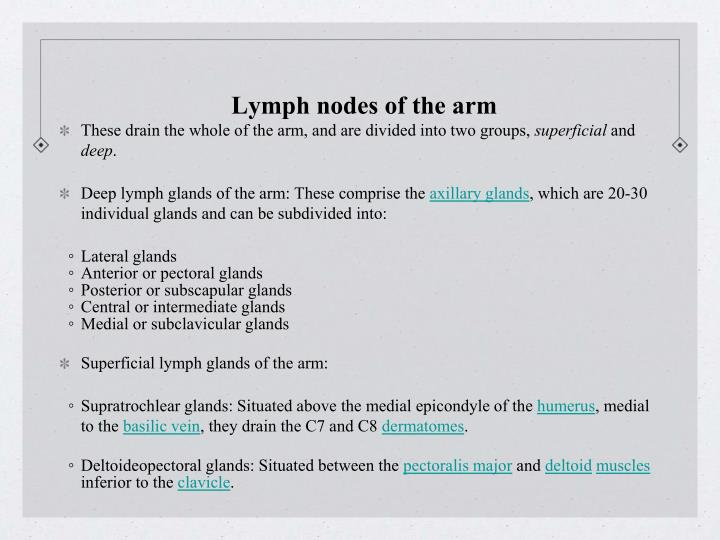 Lymph nodes of the arm