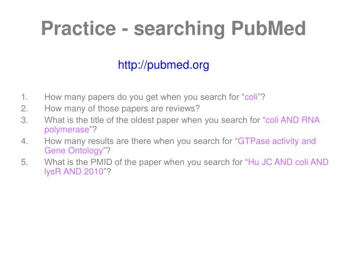 Practice - searching PubMed