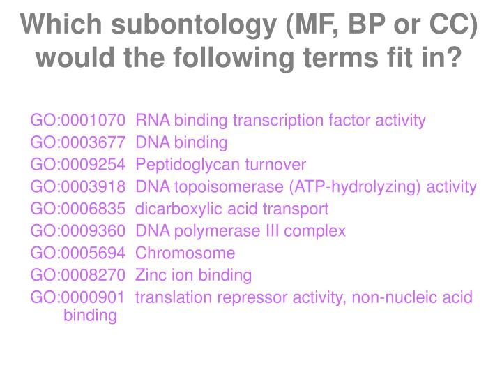 Which subontology (MF, BP or CC) would the following terms fit in?