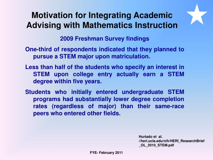 Motivation for Integrating Academic Advising with Mathematics Instruction