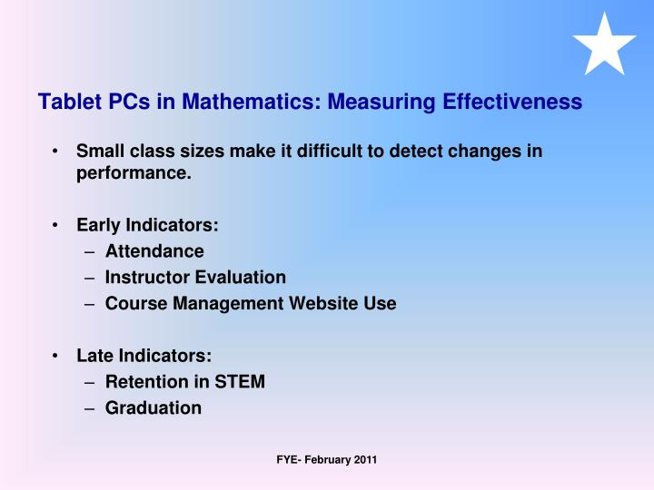 Tablet PCs in Mathematics: Measuring Effectiveness