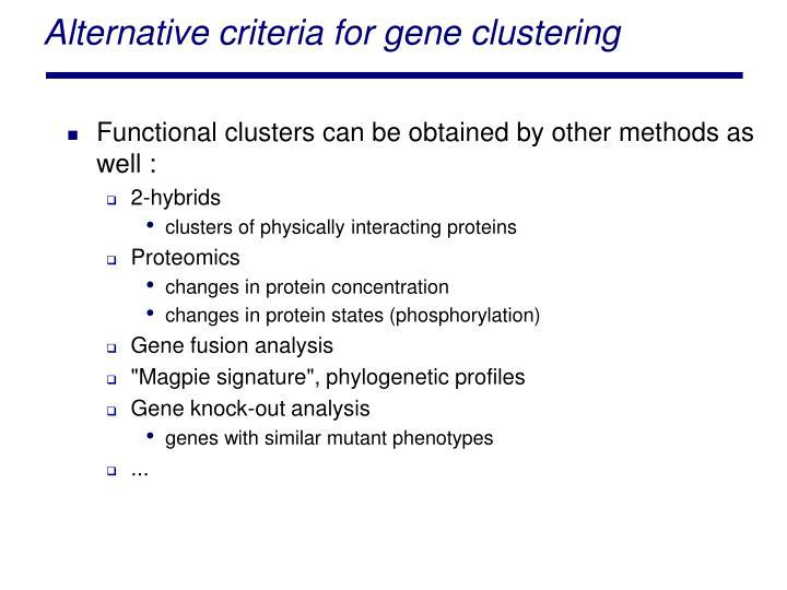 Alternative criteria for gene clustering