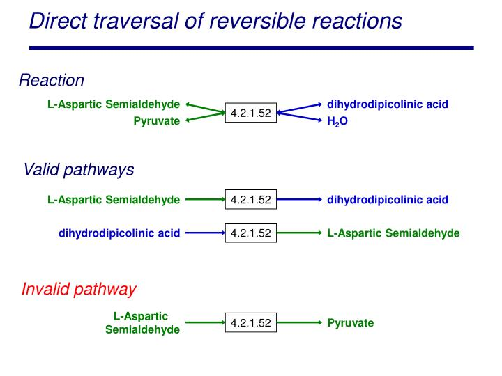 Direct traversal of reversible reactions