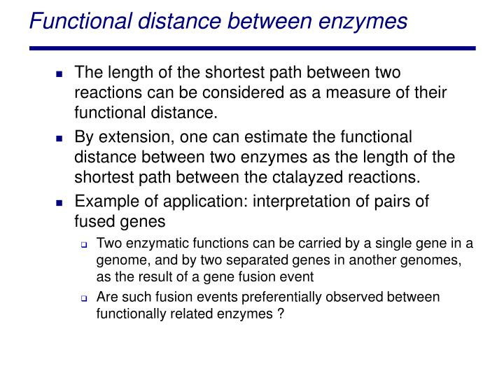 Functional distance between enzymes