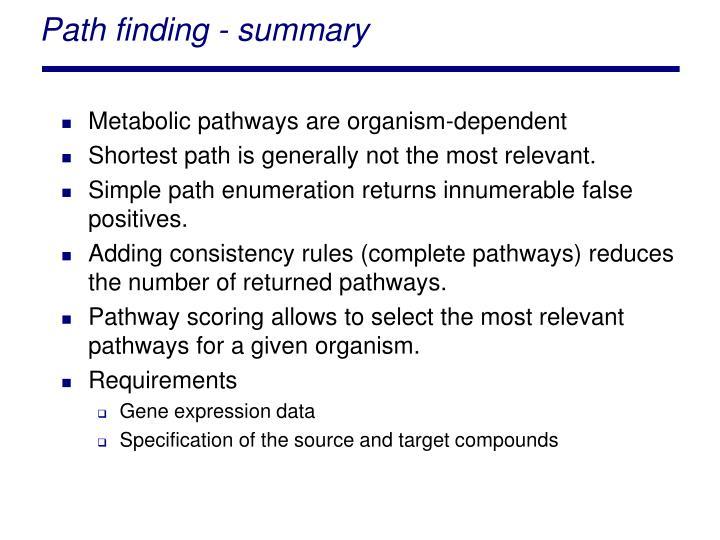Path finding - summary