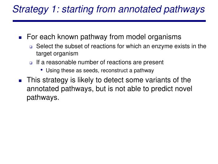 Strategy 1: starting from annotated pathways