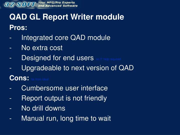 QAD GL Report Writer module