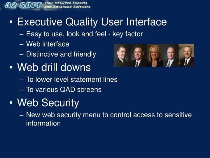 Executive Quality User Interface
