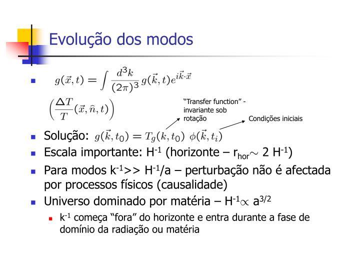 Evolução dos modos