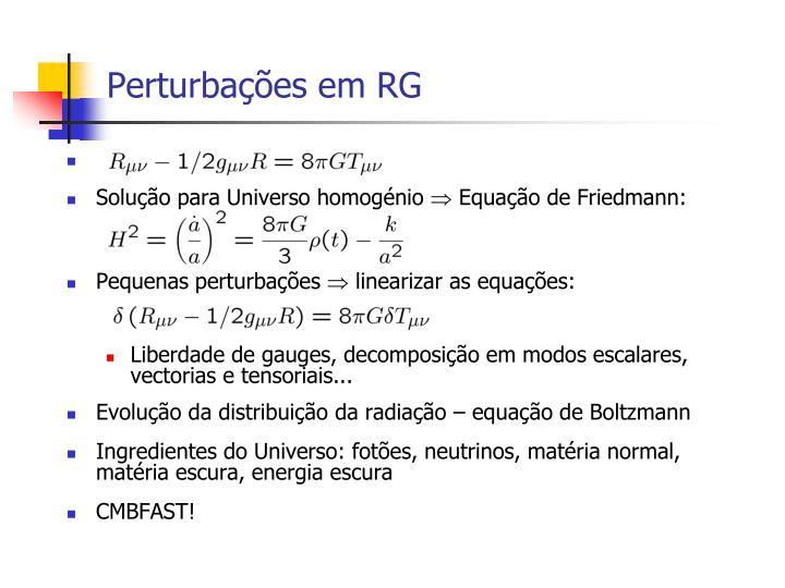 Perturbações em RG