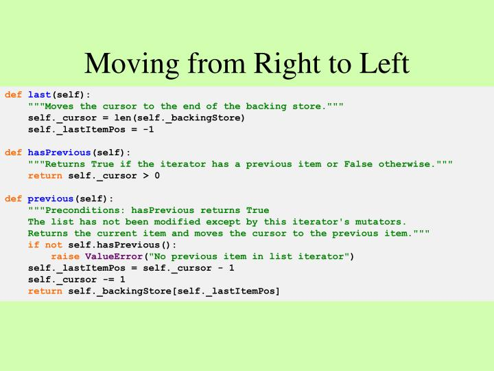 Moving from Right to Left