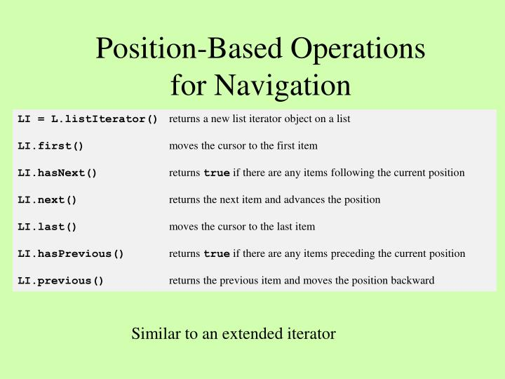 Position-Based Operations