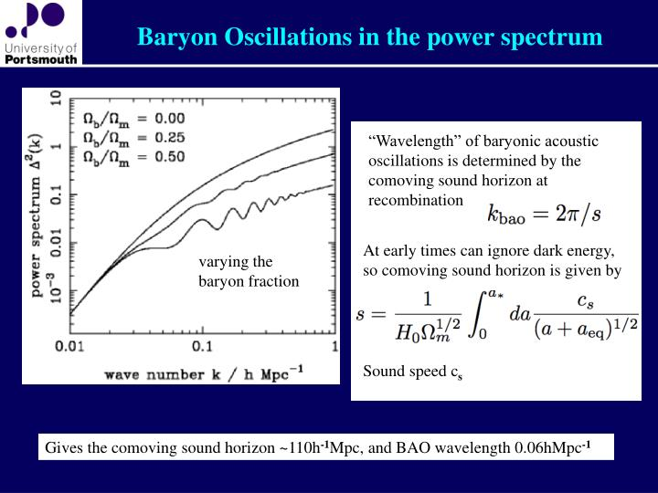 Baryon Oscillations in the power spectrum