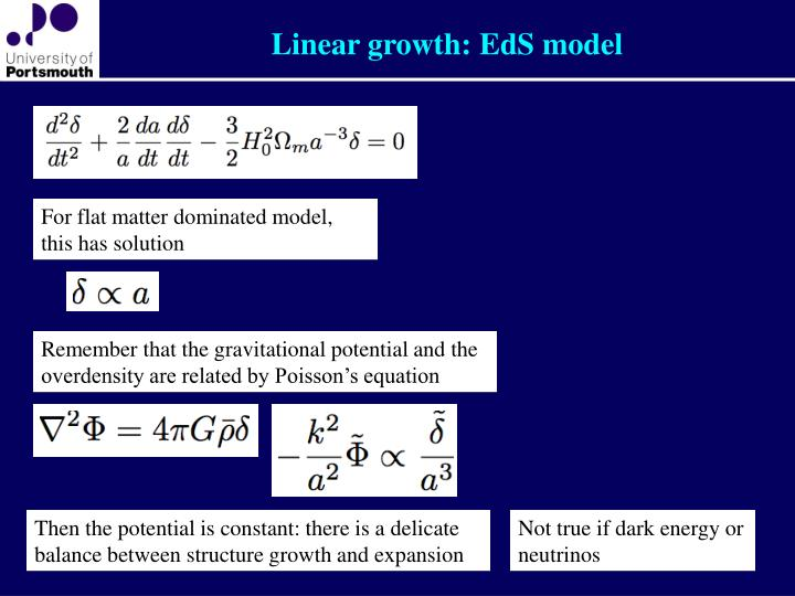 Linear growth: EdS model