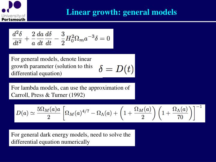 Linear growth: general models
