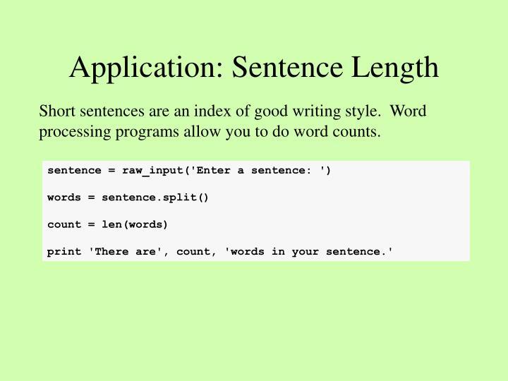Application: Sentence Length