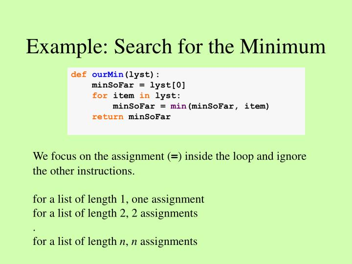 Example: Search for the Minimum
