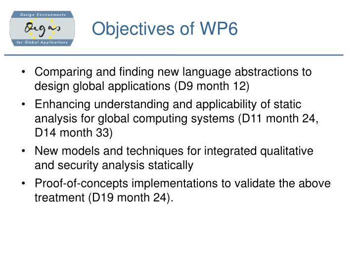 Objectives of wp6