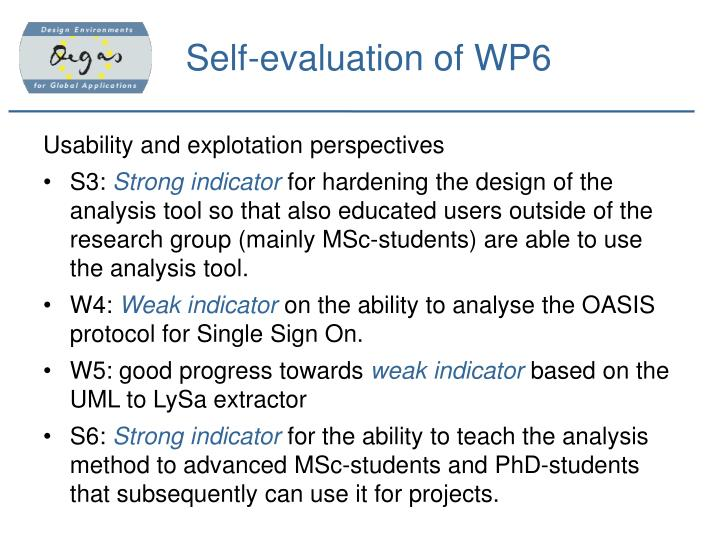 Self-evaluation of WP6
