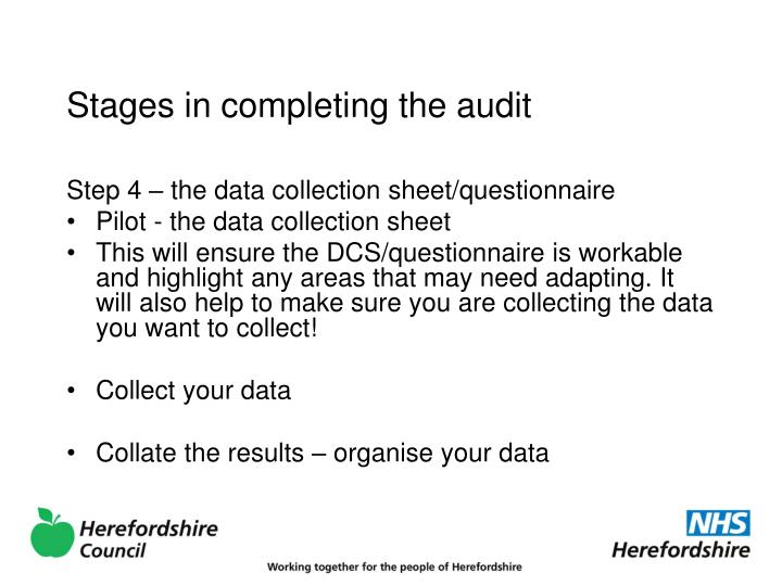 Stages in completing the audit