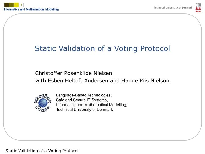 Static validation of a voting protocol