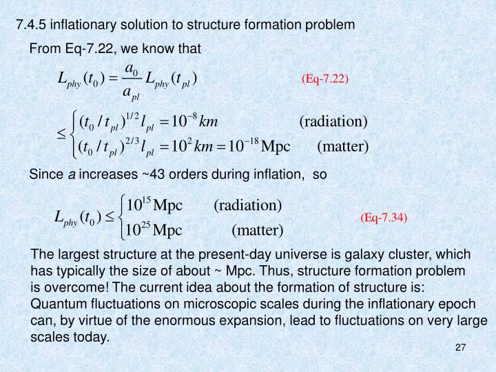 7.4.5 inflationary solution to structure formation problem