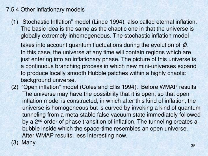 7.5.4 Other inflationary models