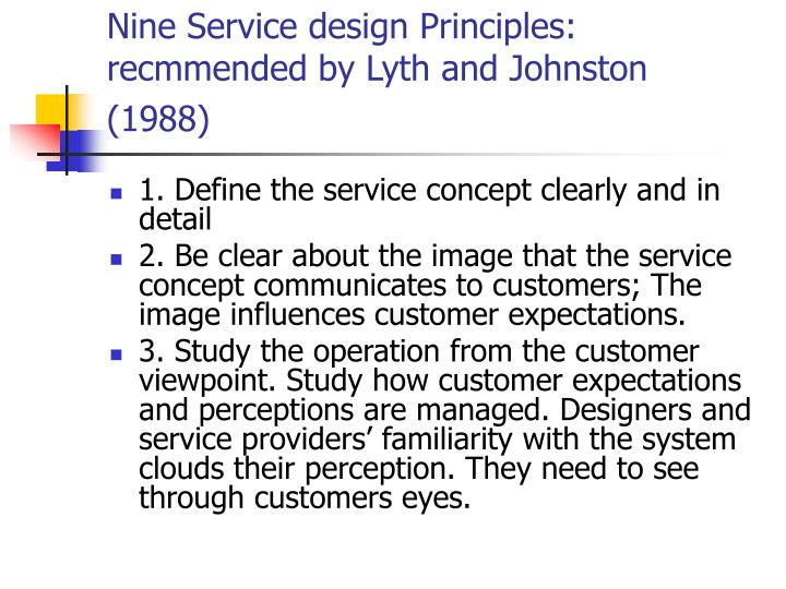 Nine Service design Principles: recmmended by