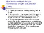 nine service design principles recmmended by lyth and johnston 1988