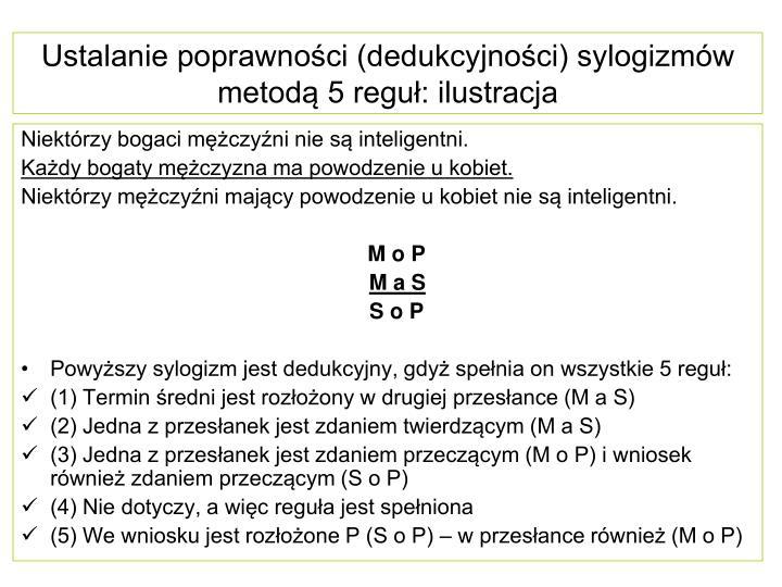 Ustalanie poprawności (dedukcyjności) sylogizmów metodą 5 reguł: ilustracja