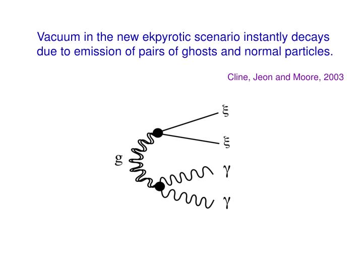 Vacuum in the new ekpyrotic scenario instantly decays due to emission of pairs of ghosts and normal particles.