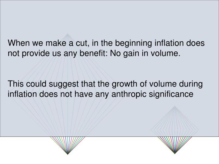 When we make a cut, in the beginning inflation does not provide us any benefit: No gain in volume.