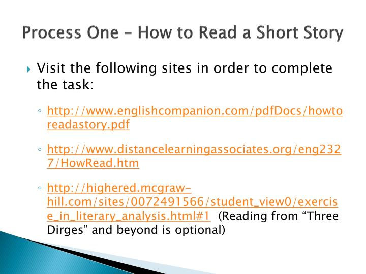 Process One – How to Read a Short Story