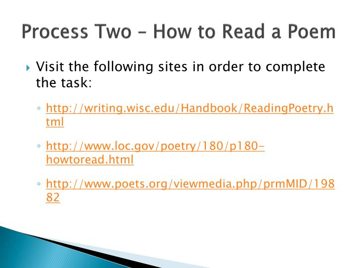 Process Two – How to Read a Poem