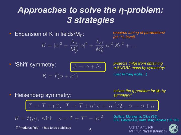 Approaches to solve the η-problem: