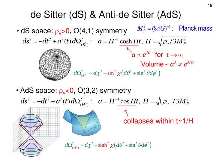 de Sitter (dS) & Anti-de Sitter (AdS)
