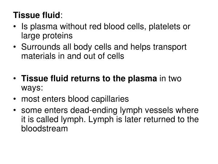 Tissue fluid