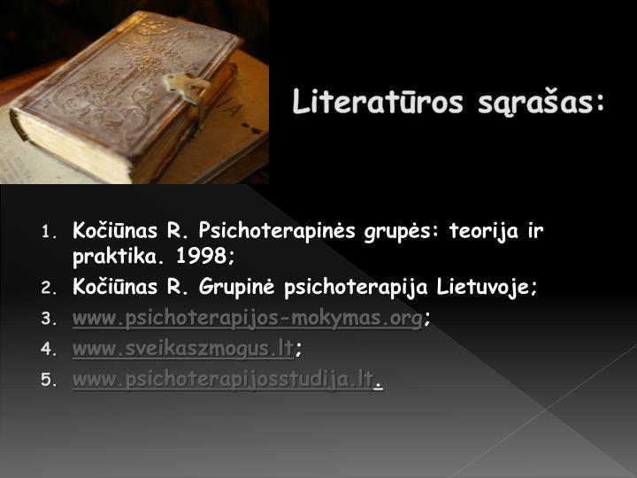 Literatūros sąrašas: