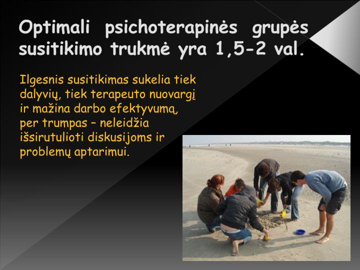 Optimali psichoterapinės grupės susitikimo trukmė yra 1,5-2 val.